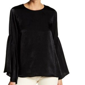 Ro&De Bell Sleeve Lace Up Satin Blouse Top Black